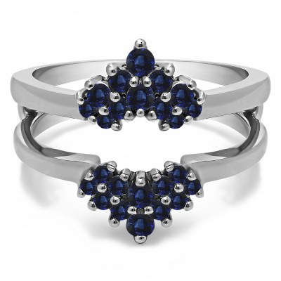0.37 Ct. Sapphire Double Row Round Prong Set Ring Guard