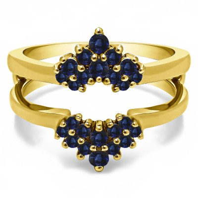 0.37 Ct. Sapphire Double Row Round Prong Set Ring Guard in Yellow Gold