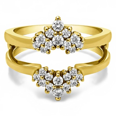 0.37 Ct. Double Row Round Prong Set Ring Guard in Yellow Gold