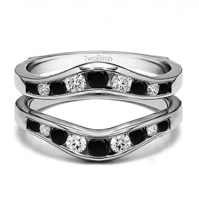 0.7 Ct. Black and White Stone Round Graduated Contour Ring Guard