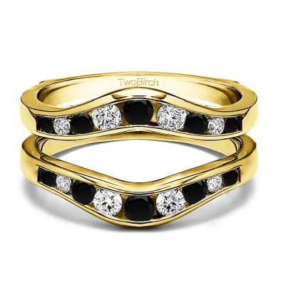 0.7 Ct. Black and White Stone Round Graduated Contour Ring Guard in Yellow Gold