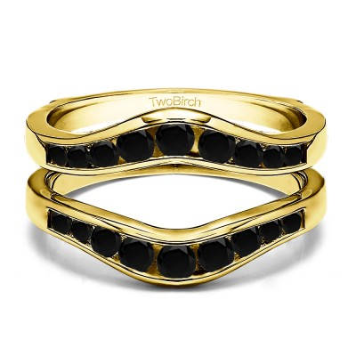 0.7 Ct. Black Stone Round Graduated Contour Ring Guard in Yellow Gold