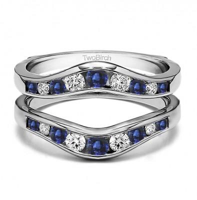 0.7 Ct. Sapphire and Diamond Round Graduated Contour Ring Guard