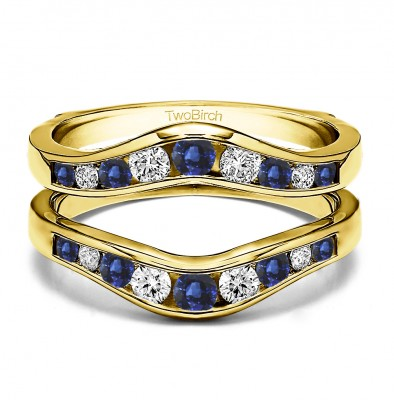 0.7 Ct. Sapphire and Diamond Round Graduated Contour Ring Guard in Yellow Gold