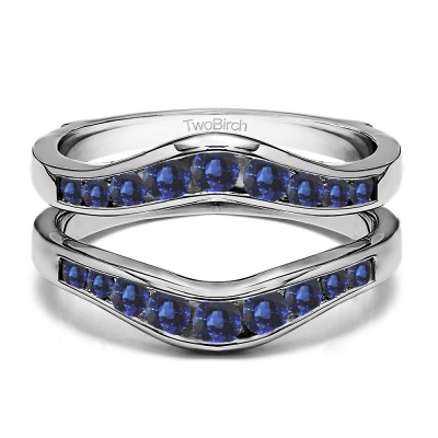 0.7 Ct. Sapphire Round Graduated Contour Ring Guard