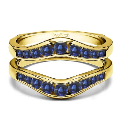 0.7 Ct. Sapphire Round Graduated Contour Ring Guard in Yellow Gold