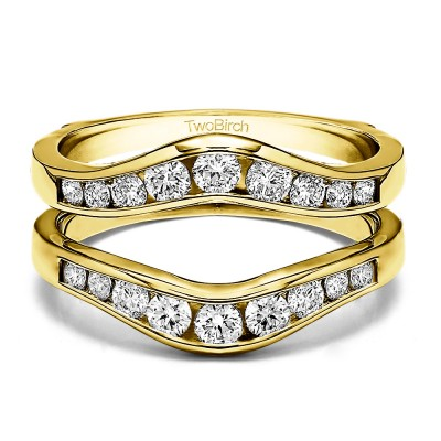 0.7 Ct. Round Graduated Contour Ring Guard in Yellow Gold