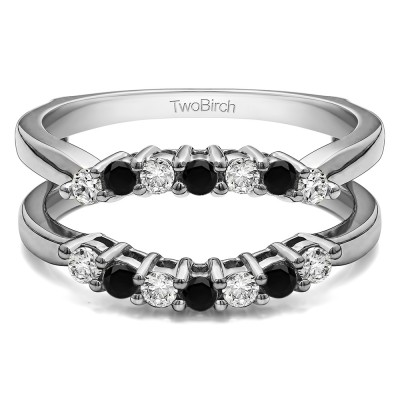 .50 Ct. Black and White Stone Double Shared Prong Contour Ring Guard