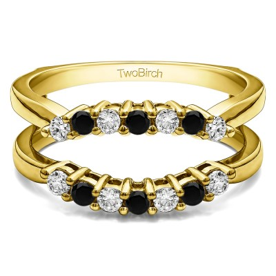 .50 Ct. Black and White Stone Double Shared Prong Contour Ring Guard in Yellow Gold