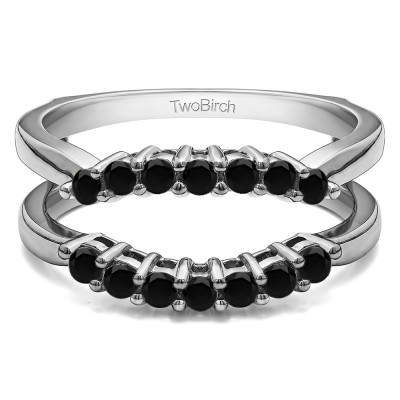 .50 Ct. Black Stone Double Shared Prong Contour Ring Guard