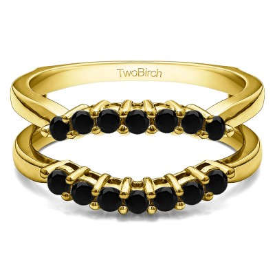 .50 Ct. Black Stone Double Shared Prong Contour Ring Guard in Yellow Gold