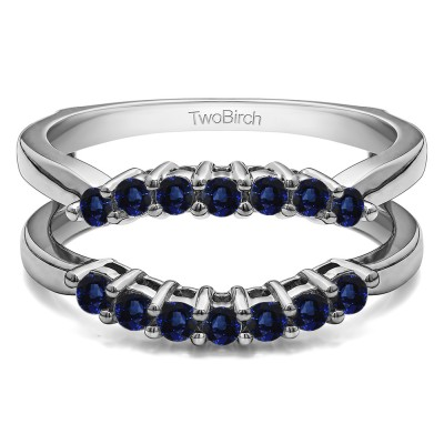 .50 Ct. Sapphire Double Shared Prong Contour Ring Guard
