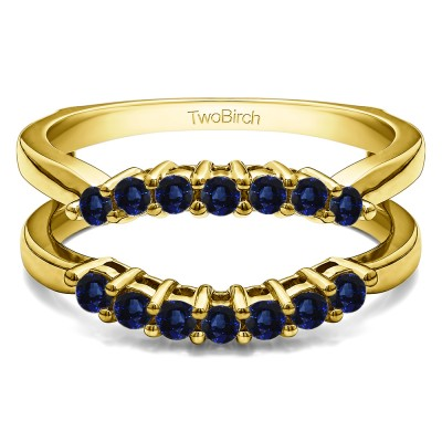 .50 Ct. Sapphire Double Shared Prong Contour Ring Guard in Yellow Gold