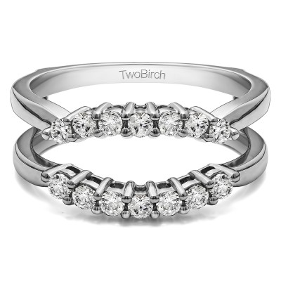 .50 Ct. Double Shared Prong Contour Ring Guard With Cubic Zirconia Mounted in Sterling Silver (Size 5.25)