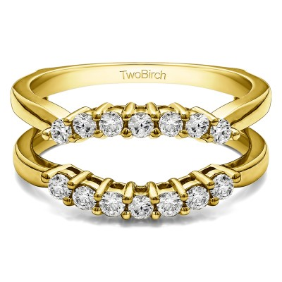 .50 Ct. Double Shared Prong Contour Ring Guard in Yellow Gold