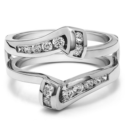 0.5 Ct. Round Channel Set Bypass Twist Jacket Ring Guard