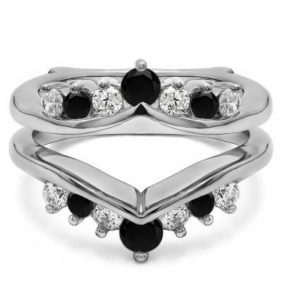 0.26 Ct. Black and White Stone Round Chevron Ring Guard Enhancer