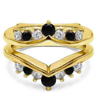 0.26 Ct. Black and White Stone Round Chevron Ring Guard Enhancer in Yellow Gold