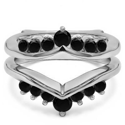 0.26 Ct. Black Stone Round Chevron Ring Guard Enhancer