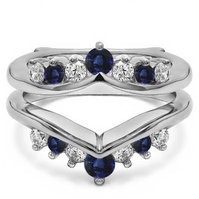 0.26 Ct. Sapphire and Diamond Round Chevron Ring Guard Enhancer