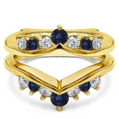0.26 Ct. Sapphire and Diamond Round Chevron Ring Guard Enhancer in Yellow Gold