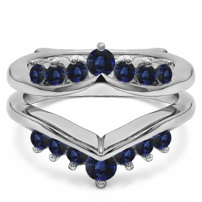 0.26 Ct. Sapphire Round Chevron Ring Guard Enhancer