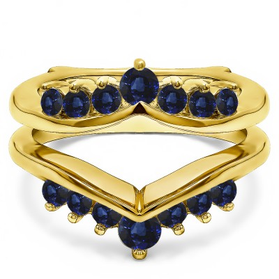 0.26 Ct. Sapphire Round Chevron Ring Guard Enhancer in Yellow Gold