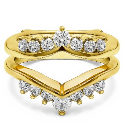 0.26 Ct. Round Chevron Ring Guard Enhancer in Yellow Gold