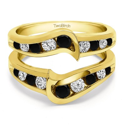 0.27 Ct. Black and White Stone Channel Set Knott Chevron Ring Guard in Yellow Gold