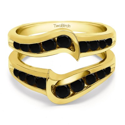 0.27 Ct. Black Stone Channel Set Knott Chevron Ring Guard in Yellow Gold