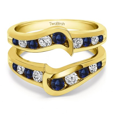 0.27 Ct. Sapphire and Diamond Channel Set Knott Chevron Ring Guard in Yellow Gold