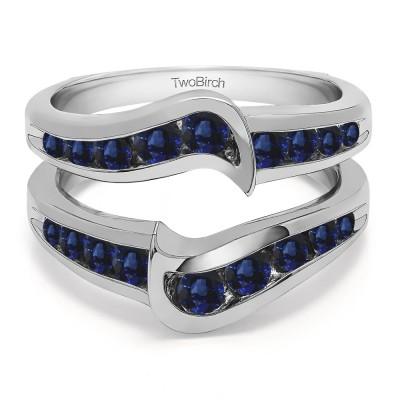 0.27 Ct. Sapphire Channel Set Knott Chevron Ring Guard