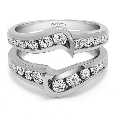Sterling Silver Channel Set Knott Chevron Ring Guard With Cubic Zirconia (0.27 ct.) Size 5