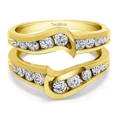 0.27 Ct. Channel Set Knott Chevron Ring Guard in Yellow Gold