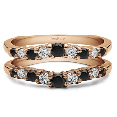 0.71 Ct. Black and White Stone Double Shared Prong Contoured Ring Guard in Rose Gold