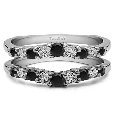 0.71 Ct. Black and White Stone Double Shared Prong Contoured Ring Guard