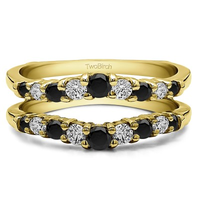 0.71 Ct. Black and White Stone Double Shared Prong Contoured Ring Guard in Yellow Gold