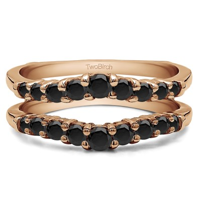 0.71 Ct. Black Stone Double Shared Prong Contoured Ring Guard in Rose Gold