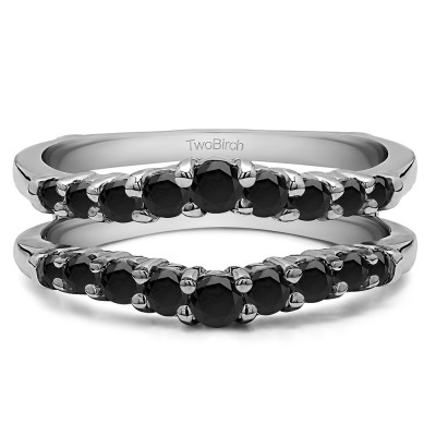 0.71 Ct. Black Stone Double Shared Prong Contoured Ring Guard