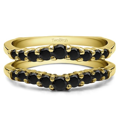 0.71 Ct. Black Stone Double Shared Prong Contoured Ring Guard in Yellow Gold