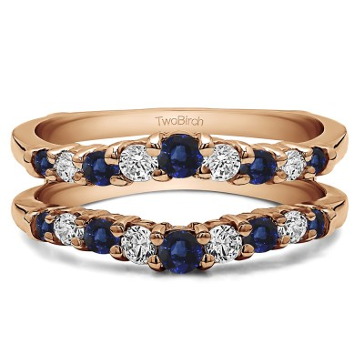 0.71 Ct. Sapphire and Diamond Double Shared Prong Contoured Ring Guard in Rose Gold