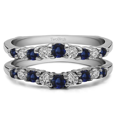 0.71 Ct. Sapphire and Diamond Double Shared Prong Contoured Ring Guard