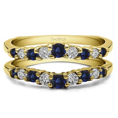 0.71 Ct. Sapphire and Diamond Double Shared Prong Contoured Ring Guard in Yellow Gold