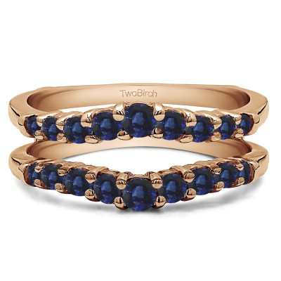 0.71 Ct. Sapphire Double Shared Prong Contoured Ring Guard in Rose Gold