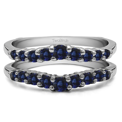 0.71 Ct. Sapphire Double Shared Prong Contoured Ring Guard