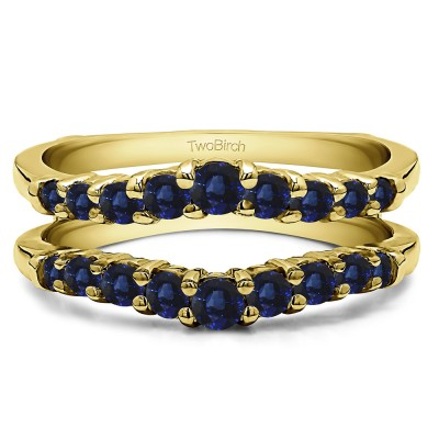 0.71 Ct. Sapphire Double Shared Prong Contoured Ring Guard in Yellow Gold