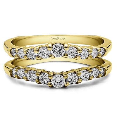 0.71 Ct. Double Shared Prong Contoured Ring Guard in Yellow Gold