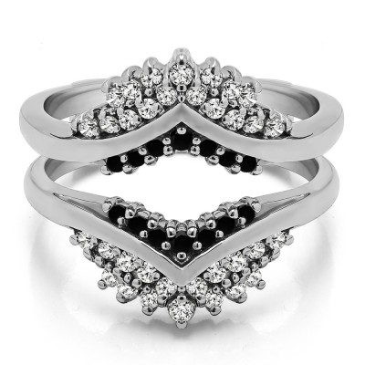 0.52 Ct. Black and White Stone Triple Row Prong Set Anniversary Ring Guard