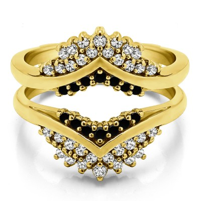 0.52 Ct. Black and White Stone Triple Row Prong Set Anniversary Ring Guard in Yellow Gold