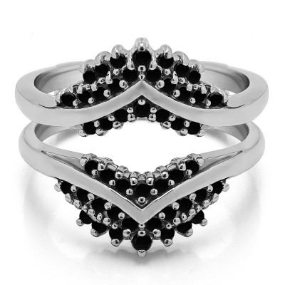 0.52 Ct. Black Stone Triple Row Prong Set Anniversary Ring Guard